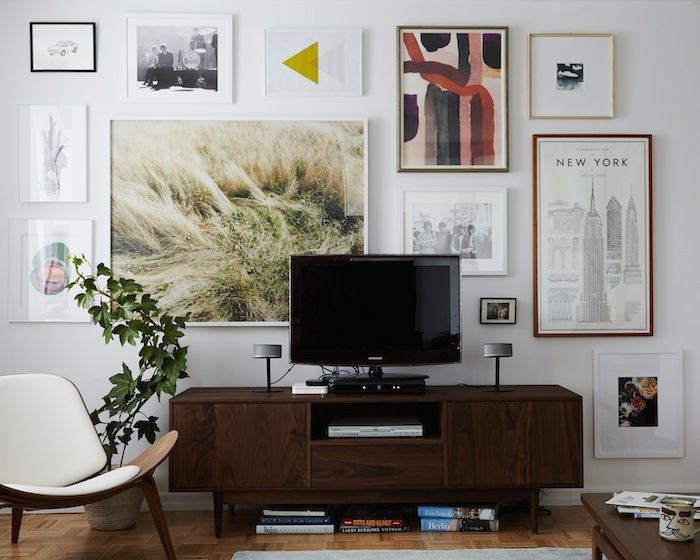 gallery wall around television