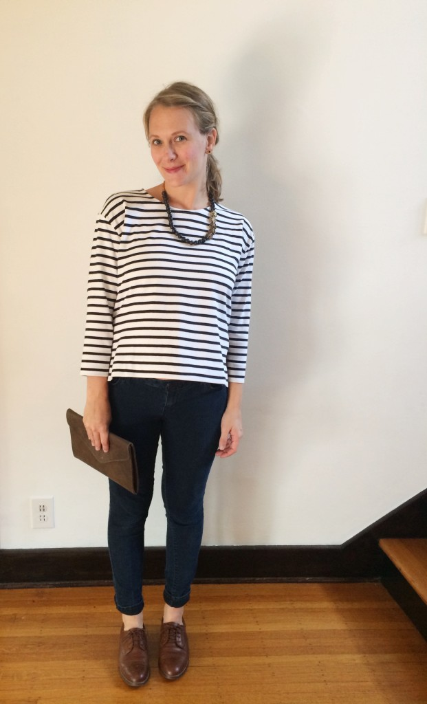 Everlane striped tee + FashionABLE clutch