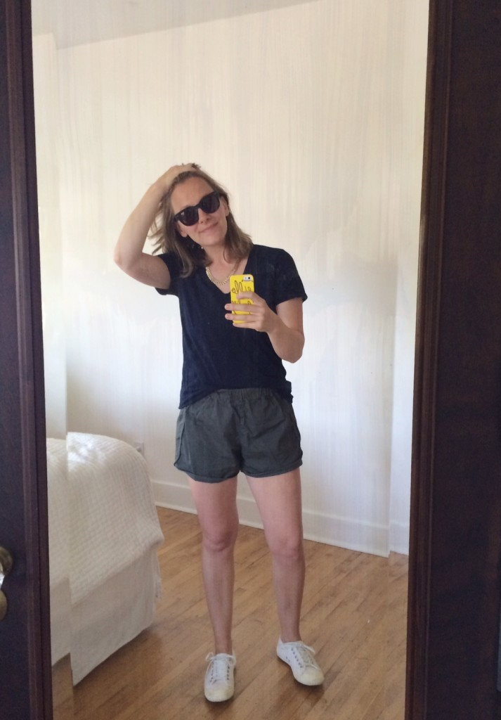 Everlane v-neck + Madewell track shorts = summer uniform