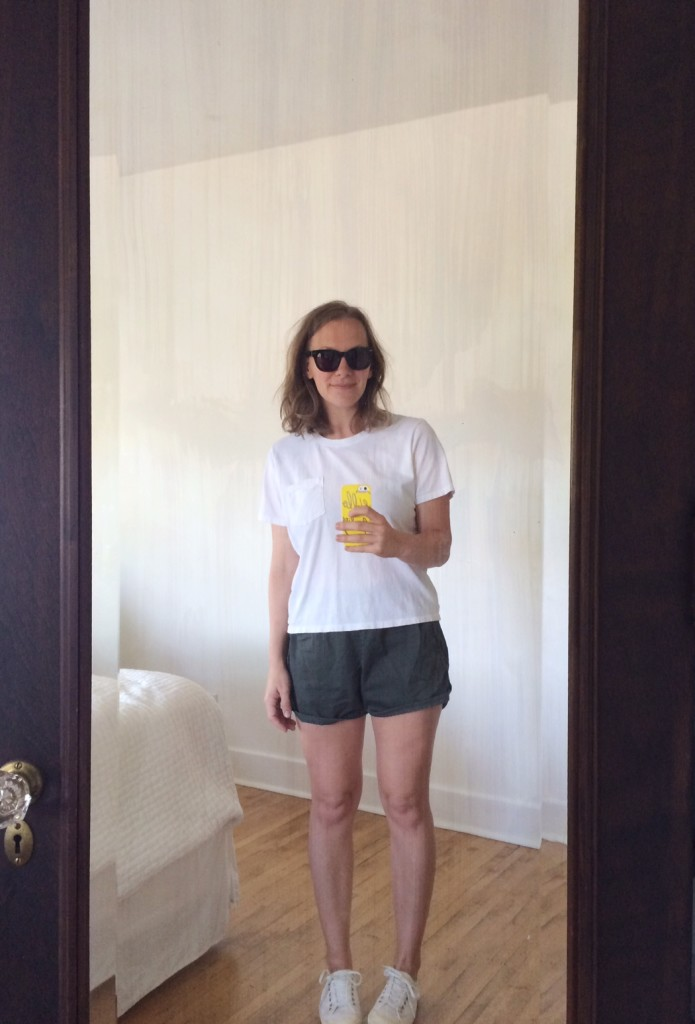 Everlane box tee + Madewell track shorts = summer uniform