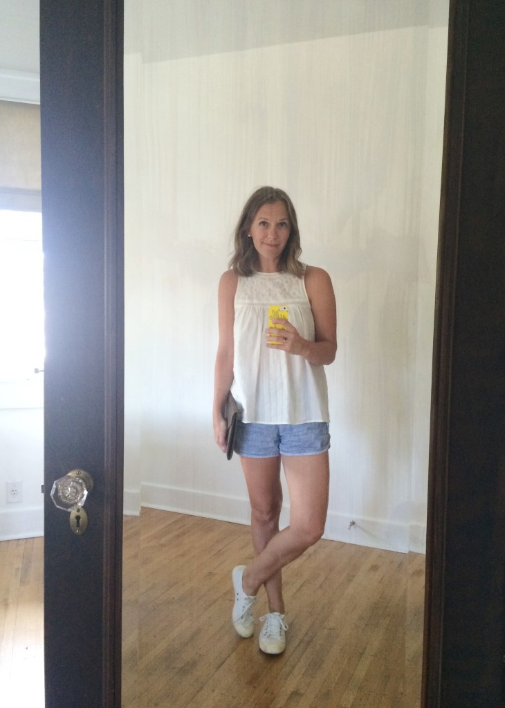 Madewell tank, track shorts, + Tretorn shoes