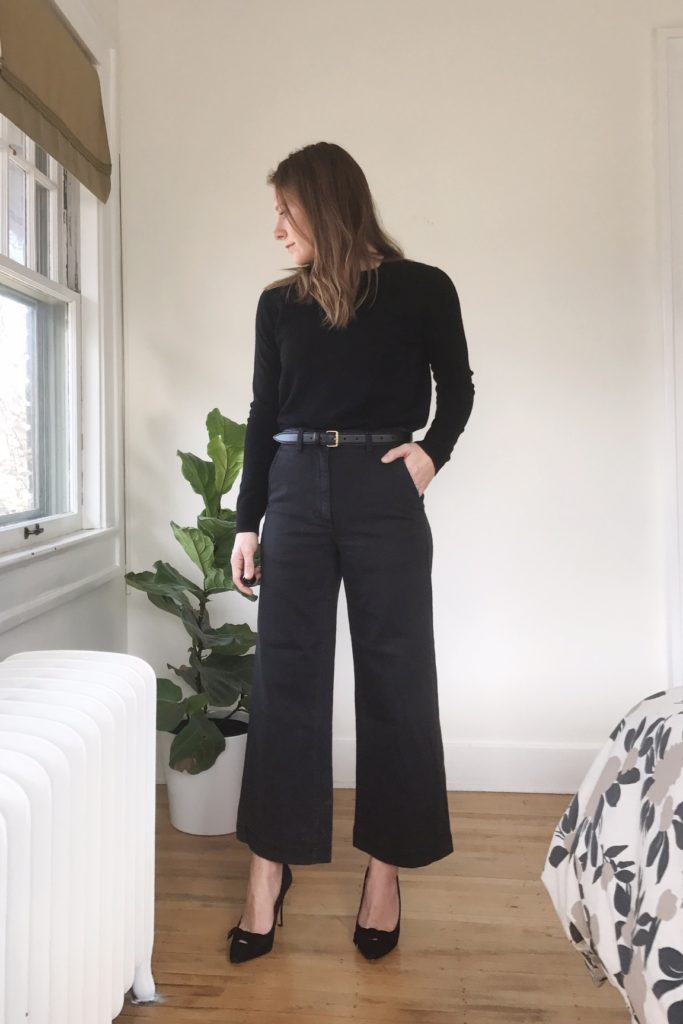 7da375f57bff Everlane cropped wide leg pants (c/o), Everlane sweater, Madewell belt,  Madewell heels (similar)